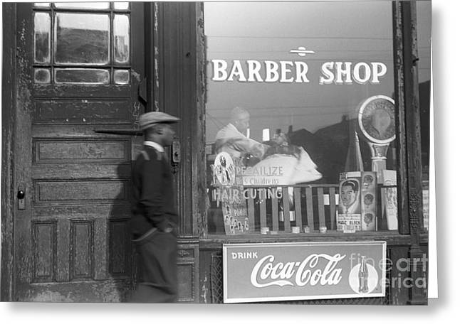 African-american Photographs Greeting Cards - Chicago: Barber Shop, 1941 Greeting Card by Granger