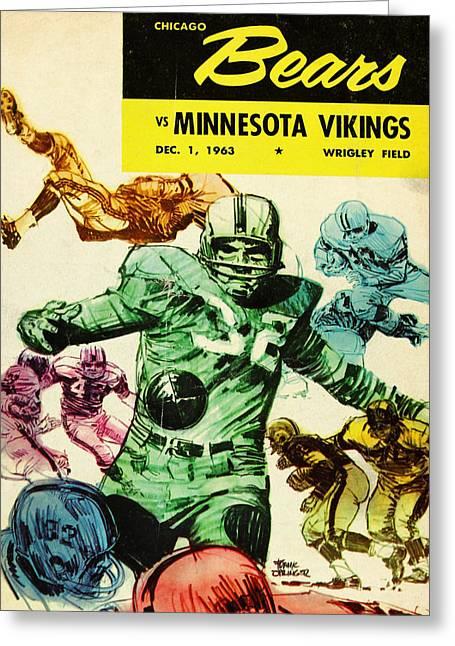 Chicago Bears Greeting Cards - Chicago Bears Vintage Program 7 Greeting Card by Joe Hamilton