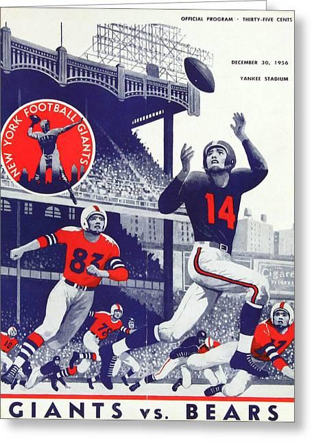 Chicago Bears Greeting Cards - Chicago Bears Vintage Program Greeting Card by Joe Hamilton