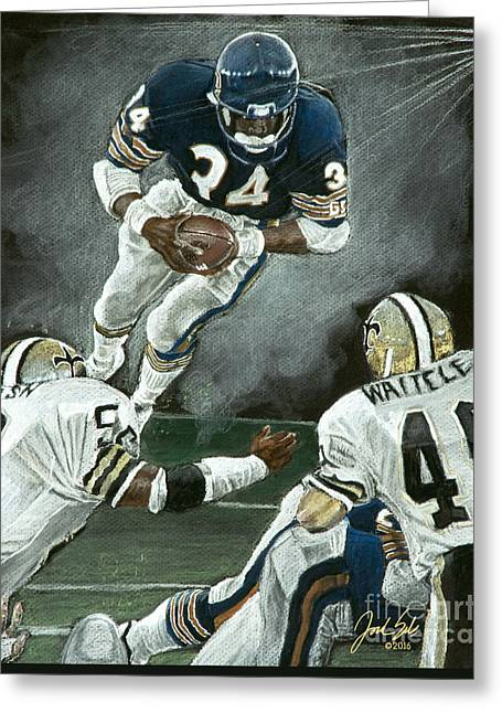 American League Pastels Greeting Cards - Chicago Bears Walter Payton  Greeting Card by Jordan Spector