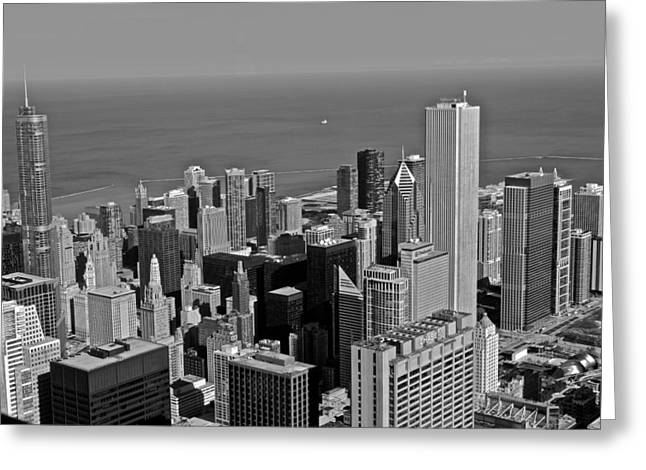 Chicago Black White Greeting Cards - Chicago Birdview Greeting Card by Miranda  Miranda