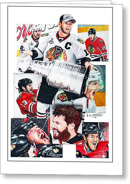 Chicago Blackhawks 2013 Faces Of Victory Greeting Card by Jerry Tibstra