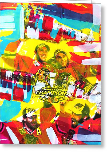 Hockey Paintings Greeting Cards - Chicago Blackhawks 2015 Champions Greeting Card by Elliott From