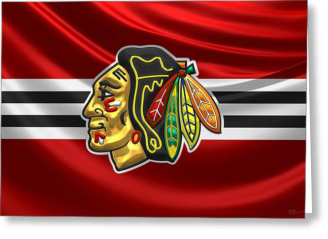 Chicago Blackhawks - 3 D Badge Over Silk Flag Greeting Card by Serge Averbukh