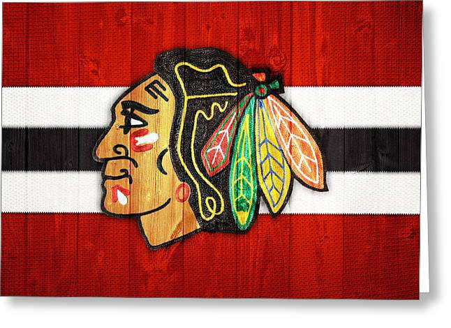 Barn Door Greeting Cards - Chicago Blackhawks Barn Door Greeting Card by Dan Sproul