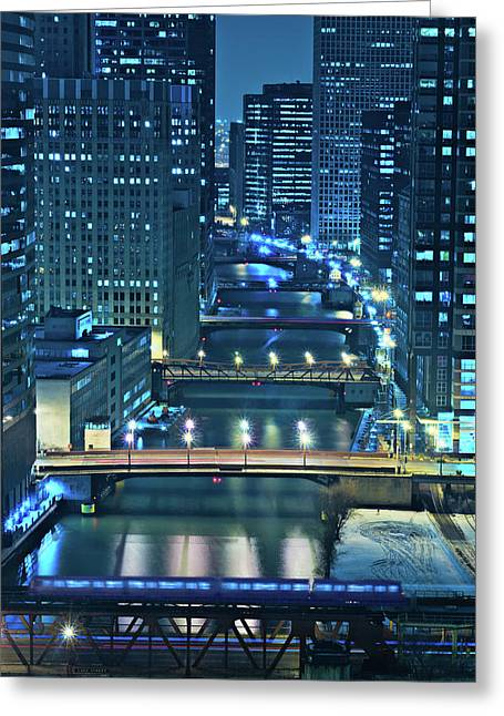 Bridge Greeting Cards - Chicago Bridges Greeting Card by Steve Gadomski
