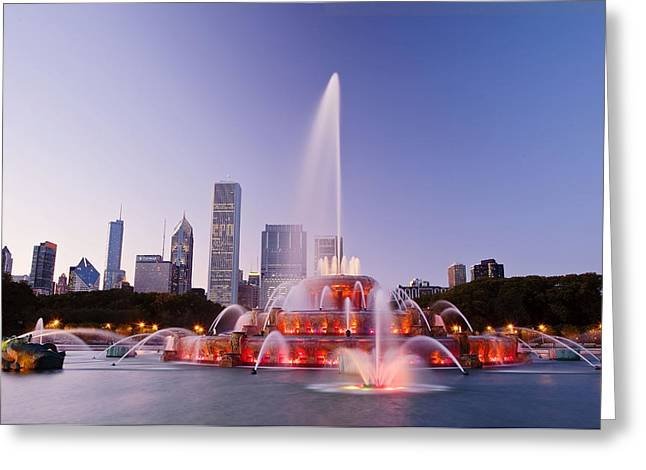 Architectural Landmarks Greeting Cards - Chicago Buckingham Fountain at Twilight Greeting Card by Abhi Ganju