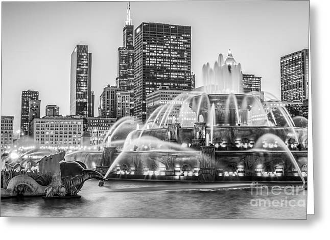 Chicago Buckingham Fountain Black And White Photo Greeting Card by Paul Velgos