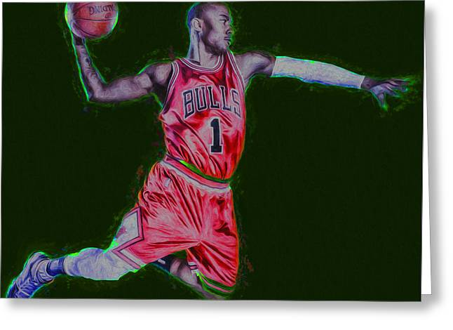 Basketballs Greeting Cards - Chicago Bulls Derrick Rose Painted Digitally RED Greeting Card by David Haskett