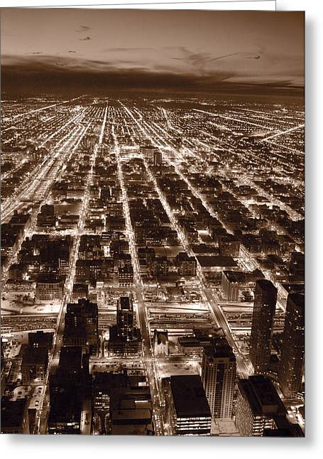 Aerials Greeting Cards - Chicago City Lights West B W Greeting Card by Steve Gadomski