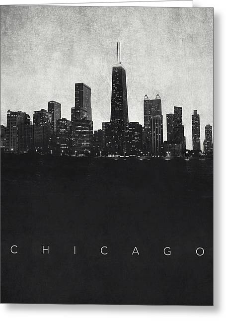 Film Noir Greeting Cards - Chicago City Skyline - Urban Noir Greeting Card by World Art Prints And Designs