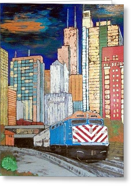 Magnificent Mile Mixed Media Greeting Cards - Chicago City Train Greeting Card by Char Swift