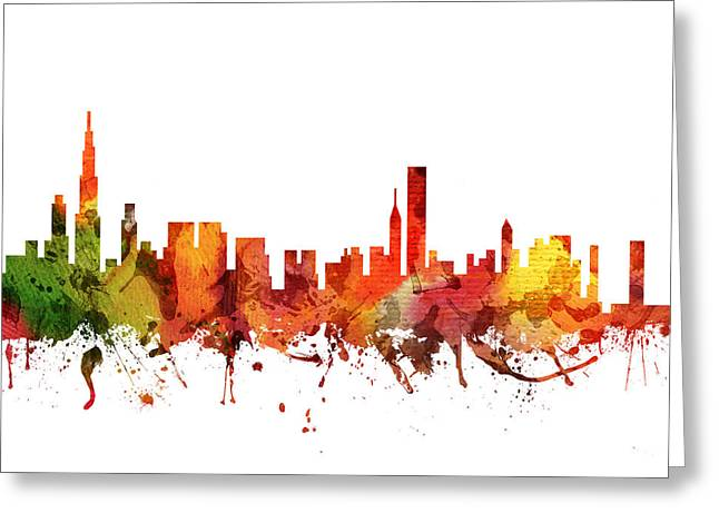 Chicago Drawings Greeting Cards - Chicago Cityscape 04 Greeting Card by Aged Pixel