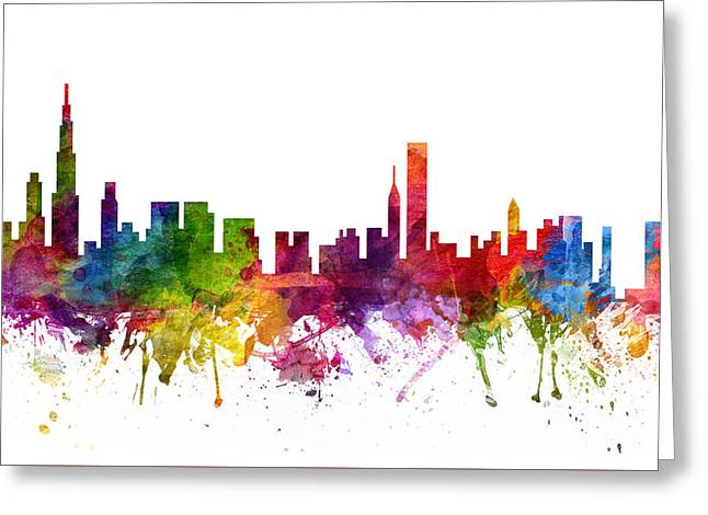 Chicago Drawings Greeting Cards - Chicago Cityscape 06 Greeting Card by Aged Pixel