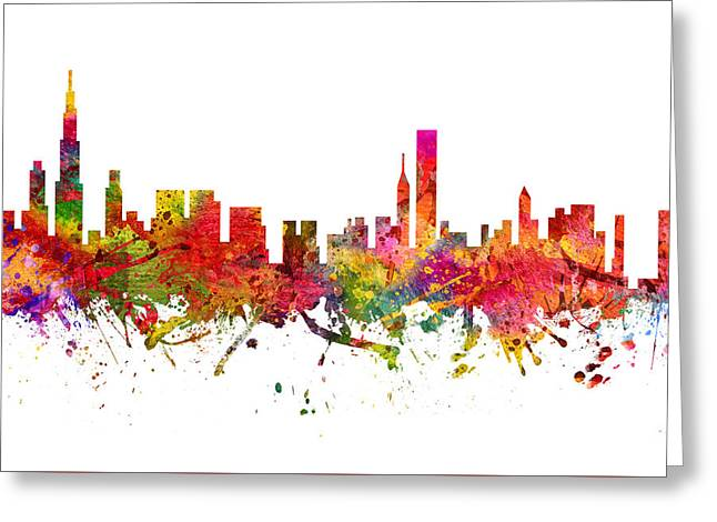 Chicago Drawings Greeting Cards - Chicago Cityscape 08 Greeting Card by Aged Pixel