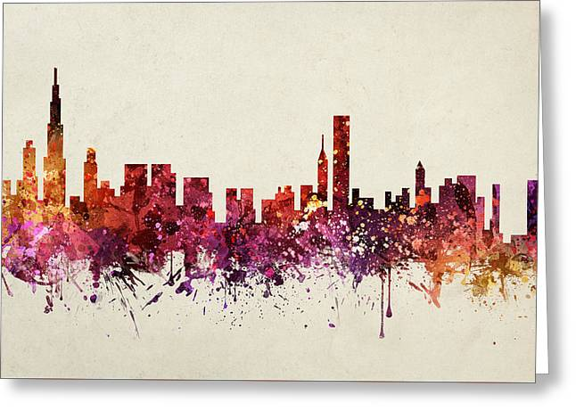 Chicago Drawings Greeting Cards - Chicago Cityscape 09 Greeting Card by Aged Pixel