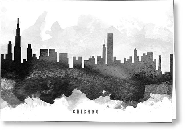 Chicago Black White Greeting Cards - Chicago Cityscape 11 Greeting Card by Aged Pixel