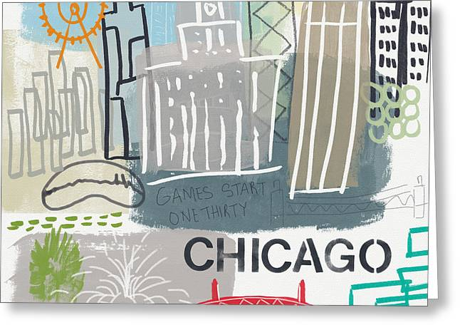 Ferris Wheel Greeting Cards - Chicago Cityscape- Art by Linda Woods Greeting Card by Linda Woods