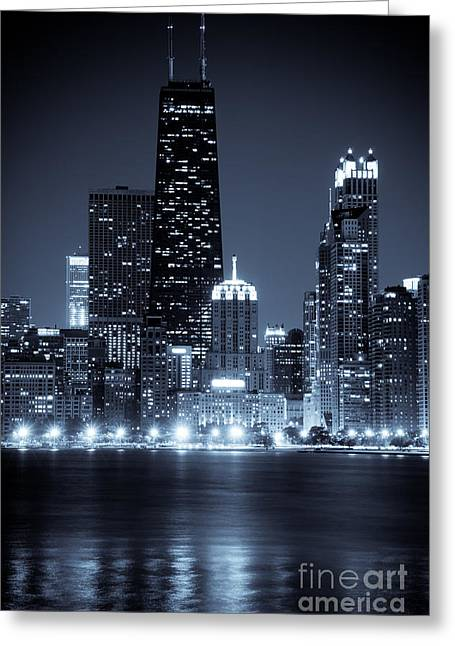 Shoreline Photographs Greeting Cards - Chicago Cityscape at Night Greeting Card by Paul Velgos