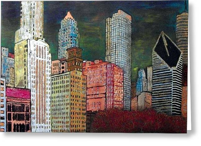 Magnificent Mile Mixed Media Greeting Cards - Chicago Cityscape Greeting Card by Char Swift