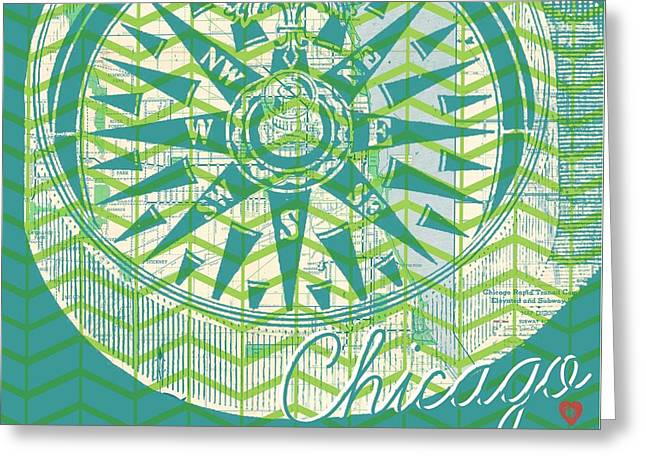 Chicago Compass Greeting Card by Brandi Fitzgerald