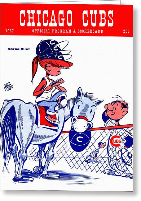 Chicago Cubs 1967 Scorecard Greeting Card by Big 88 Artworks