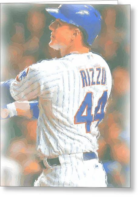 Chicago Cubs Anthony Rizzo 2 Greeting Card by Joe Hamilton