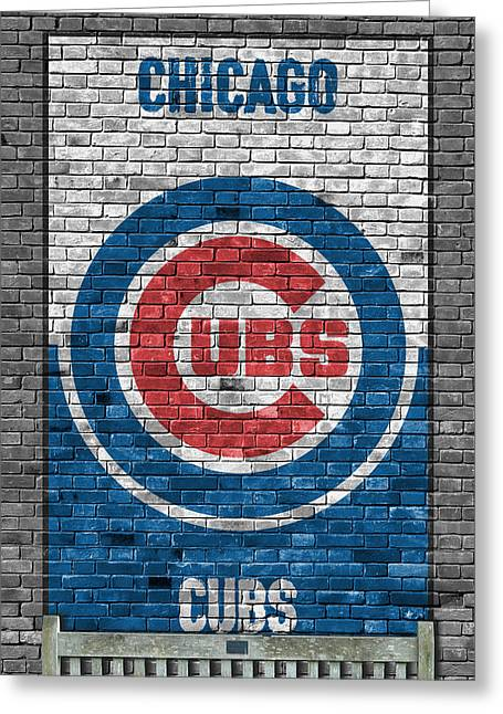 Chicago Cubs Brick Wall Greeting Card by Joe Hamilton
