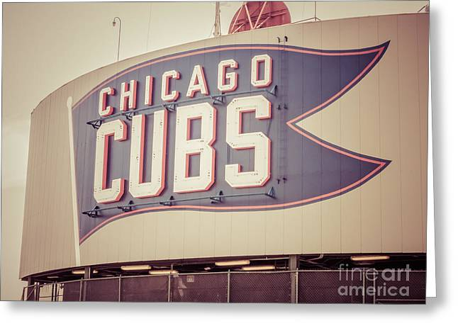 Chicago Cubs Stadium Greeting Cards - Chicago Cubs Sign Vintage Picture Greeting Card by Paul Velgos