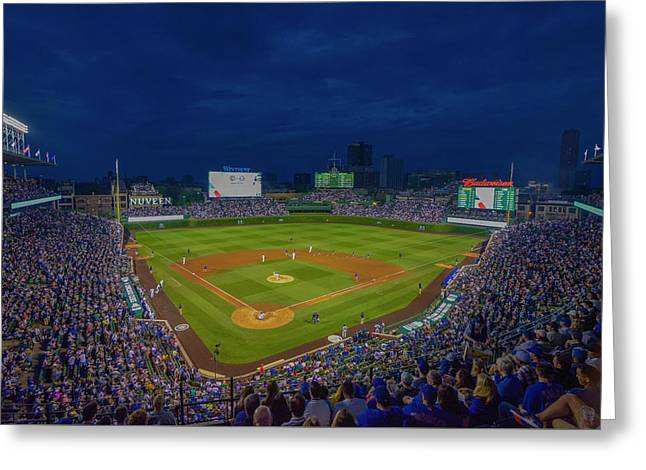 Chicago Cubs Wrigley Field 9 8357 Greeting Card by David Haskett
