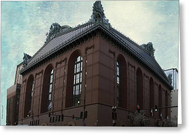 Urban Images Greeting Cards - Chicago Downtown Public Library Textured Greeting Card by Thomas Woolworth