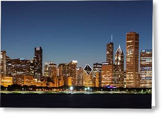 Wacker Drive Greeting Cards - Chicago Downtown Skyline at Night Greeting Card by Semmick Photo