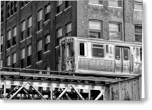 Chicago El And Warehouse Black And White Greeting Card by Christopher Arndt