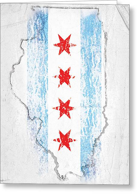Chicago Flag Greeting Card by Roly Orihuela