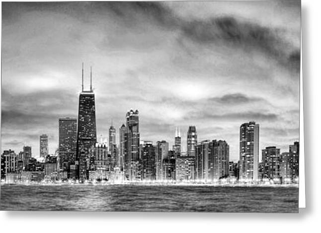 Chicago Gotham City Skyline Black And White Panorama Greeting Card by Christopher Arndt