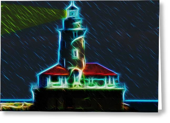 Images Lightning Digital Art Greeting Cards - Chicago Harbor Lighthouse Greeting Card by Chris Flees
