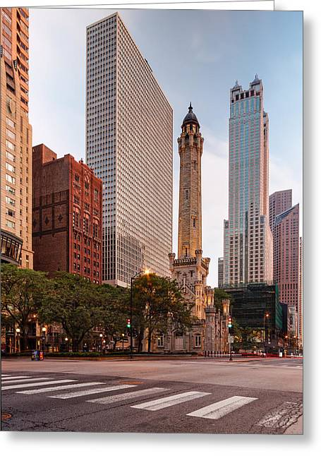 Chicago Historic Water Tower On Michigan Avenue - Chicago Illinois Greeting Card by Silvio Ligutti