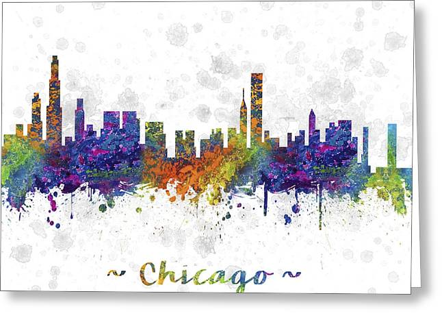 Skylines Drawings Greeting Cards - Chicago Illinois Skyline Color 03SQ Greeting Card by Aged Pixel