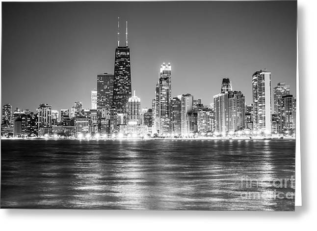 Chicago Lakefront Skyline Black And White Photo Greeting Card by Paul Velgos