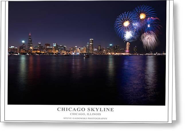 Chicago Lakefront Skyline Poster Greeting Card by Steve Gadomski