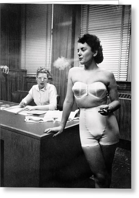 Chicago Lingerie Model 1949 Greeting Card by Daniel Hagerman