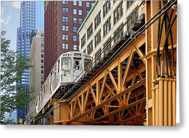 Elevated Greeting Cards - Chicago Loop L Greeting Card by Christine Till