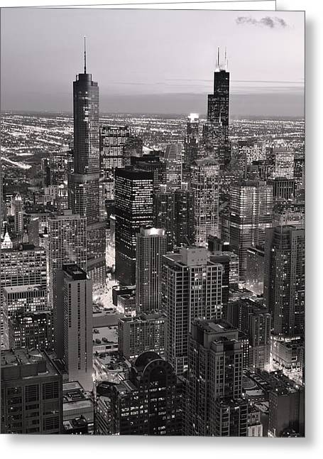 Aerial Greeting Cards - Chicago Loop Sundown B and W Greeting Card by Steve Gadomski