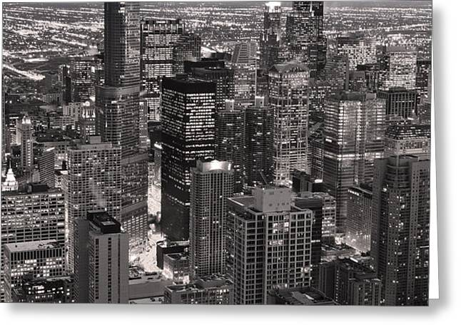 Chicago Loop Sundown B and W Greeting Card by Steve Gadomski