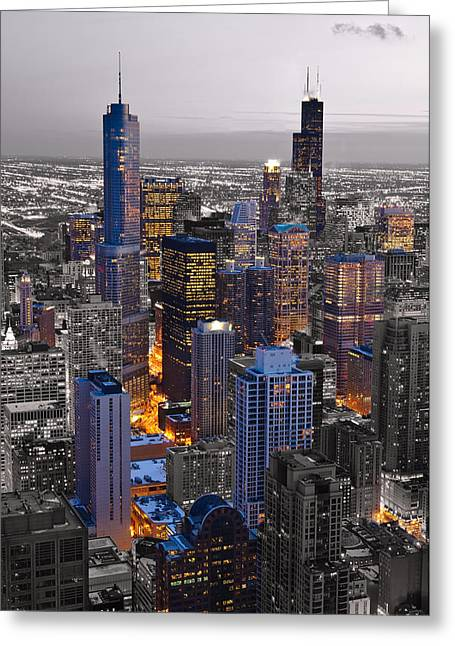 Hancock Greeting Cards - Chicago Loop Sundown BW Color Blend Greeting Card by Steve Gadomski