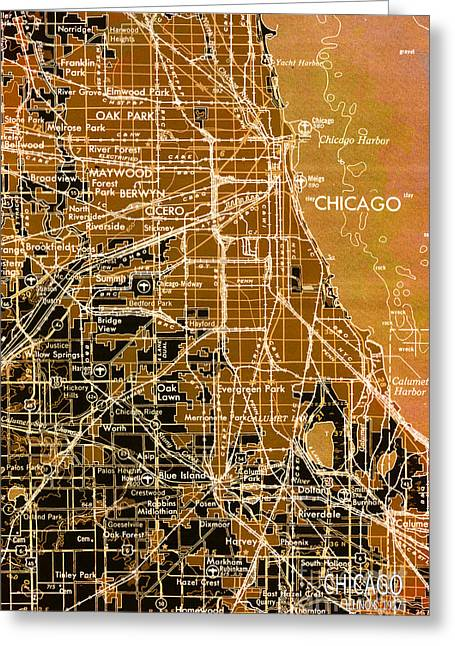 print Mixed Media Greeting Cards - Chicago Map Year 1957 Greeting Card by Pablo Franchi