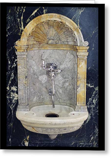 Chicago Marshall Fields 1907 Drinking Fountain Vertical Greeting Card by Thomas Woolworth