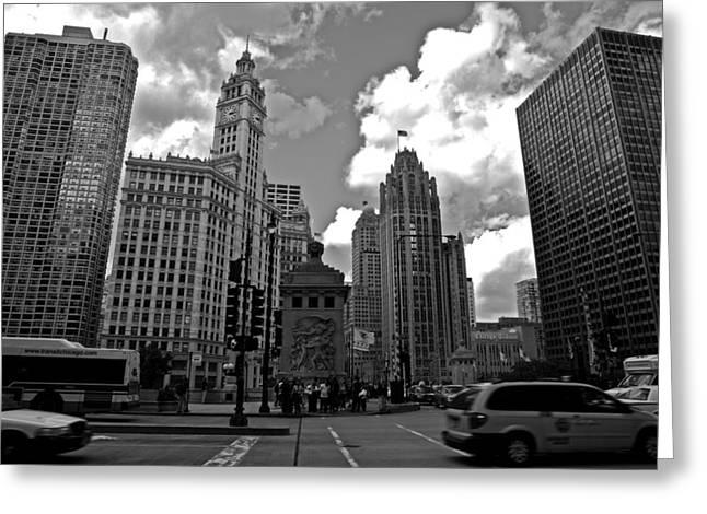 Chicago Black White Greeting Cards - Chicago Greeting Card by Miranda  Miranda