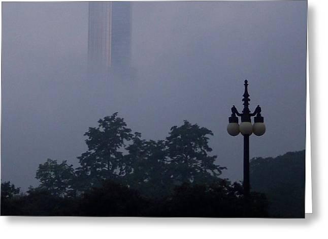 Chicago Mist Greeting Card by Anna Villarreal Garbis