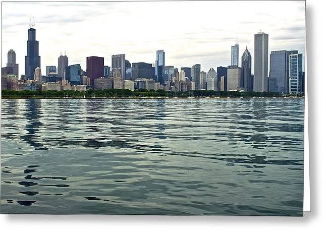 Chicago Bulls Greeting Cards - Chicago Morning on the Lakefront Greeting Card by Frozen in Time Fine Art Photography
